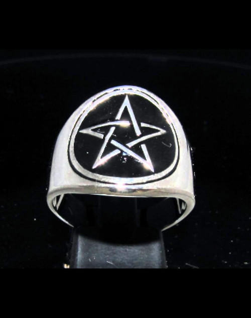 Sterling silver Wicca ring Pentagram Five pointed Celtic Pagan Star with Black enamel high polished 925 silver