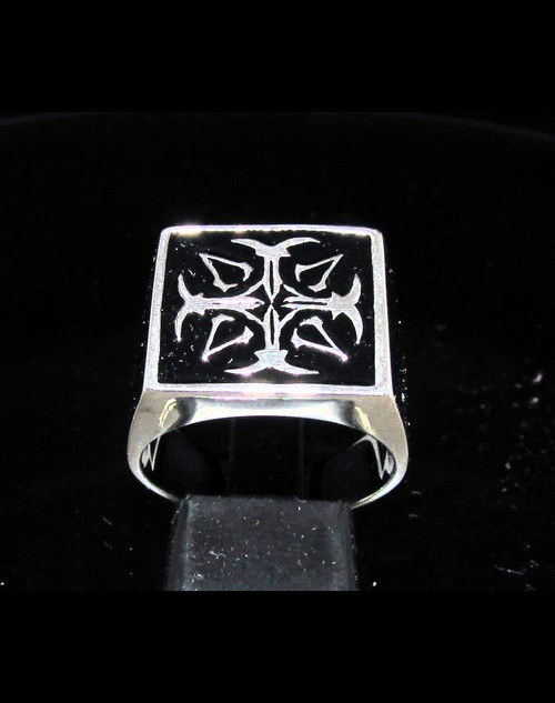 Sterling silver Assassin symbol ring Cross with Black enamel high polished 925 silver men's ring