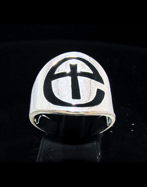 Sterling silver Anglican Cross ring Church of England religious symbol in Black enamel 925 silver