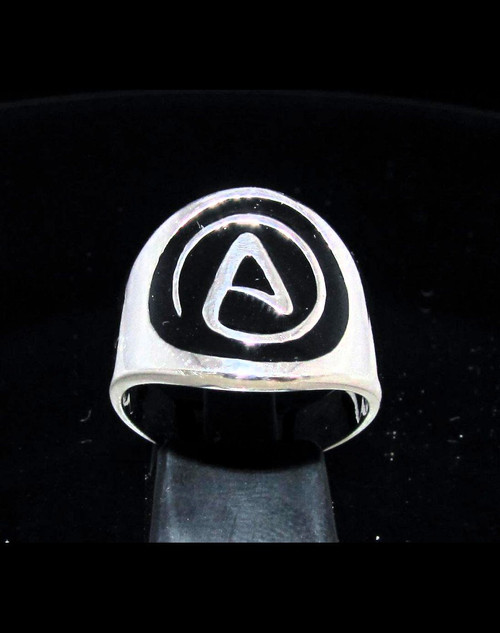 Sterling silver Atheist symbol ring Cross with Black enamel high polished 925 silver