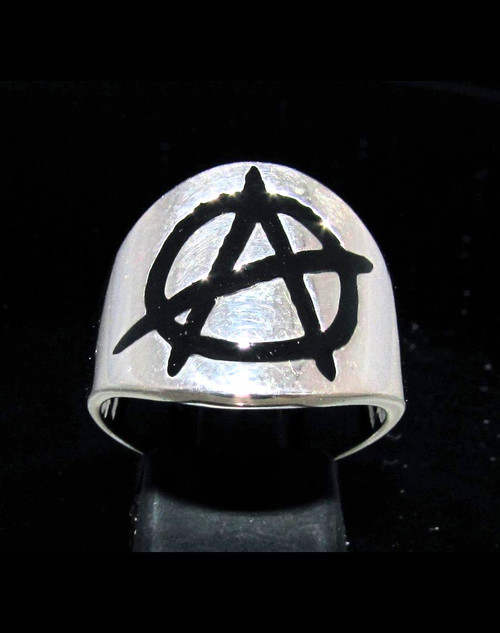 Sterling silver Anarchy ring Circle A symbol in Black enamel high polished 925 silver