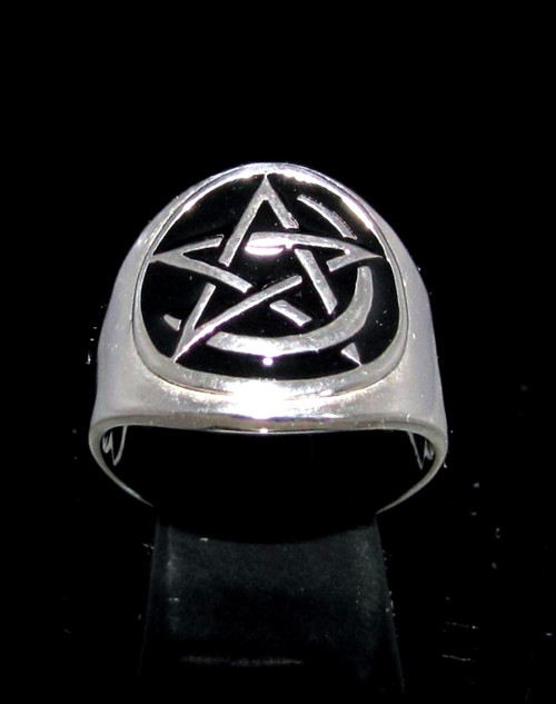 Sterling silver Pentagram and Crescent moon symbol ring Pentacle Star with Black enamel 925 silver