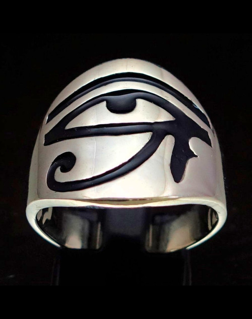 Sterling silver ring Eye of Ra Horus ancient Egypt symbol in Black enamel high polished 925 silver