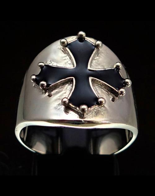 Sterling silver Occitan Cross ring Medieval France heraldic symbol with Black enamel 925 silver