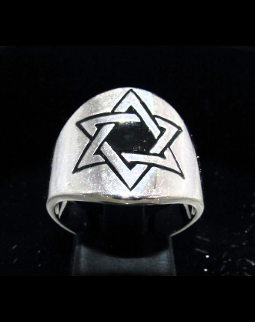 Sterling silver Hexagram symbol ring Six Pointed Star of David with Black enamel high polished 925 silver