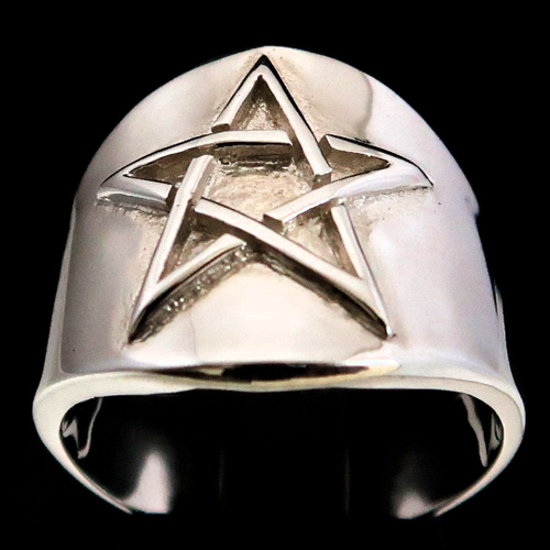 Sterling silver Celtic Pentagram ring Five Pointed Pagan Star high polished 925 silver