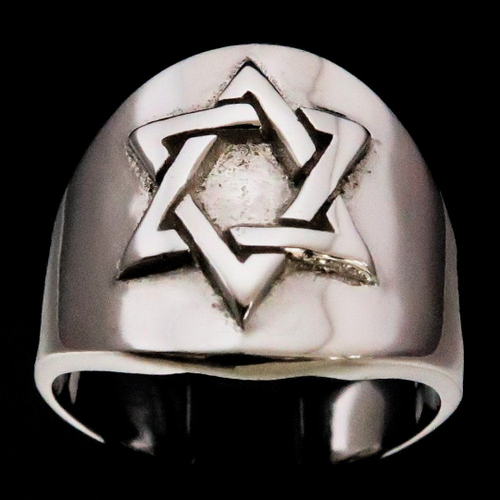 Sterling silver Hebrew symbol ring Star of David high polished 925 silver