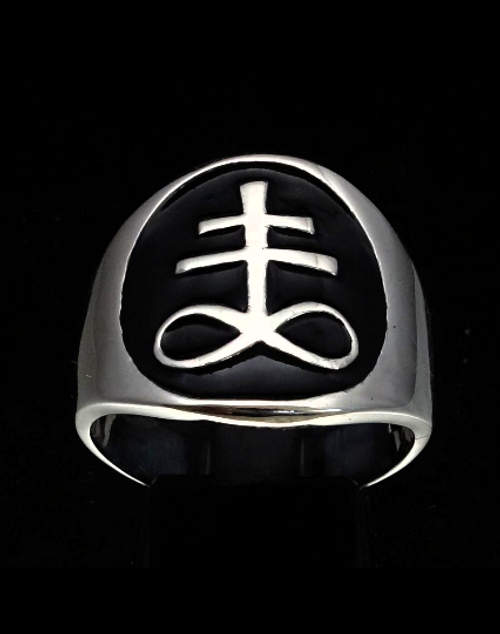 Sterling silver Occult symbol ring Leviathan Cross of Satan with Black enamel high polished 925 silver