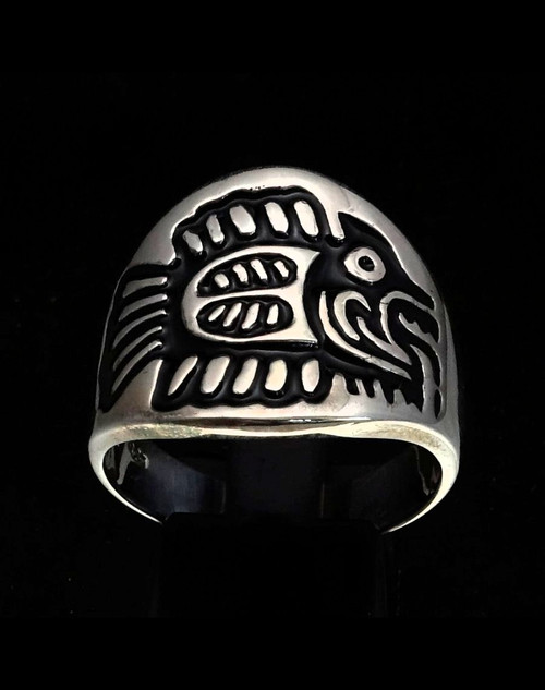 Sterling silver ancient Aztec symbol ring Maya Inca Fish hieroglyph with Black enamel 925 silver