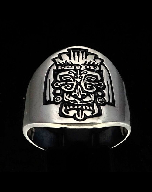 Sterling silver Maya Aztec symbol ring Mask hieroglyph ancient Mexico with Black enamel 925 silver