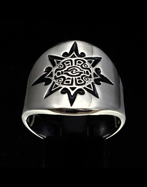 Sterling silver ancient Mayan Sun symbol ring with Black enamel high polished 925 silver