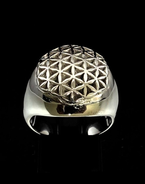 Sterling silver ring Flower of Life Divine Creation Energy World Grid symbol high polished 925 silver