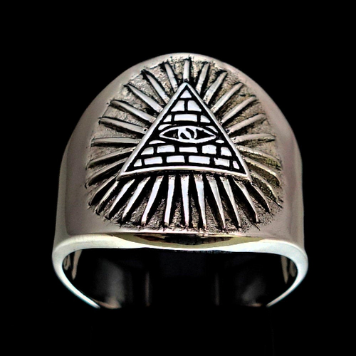 Sterling silver religious symbol ring Eye of Providence in Triangle Christian icon high polished 925 silver