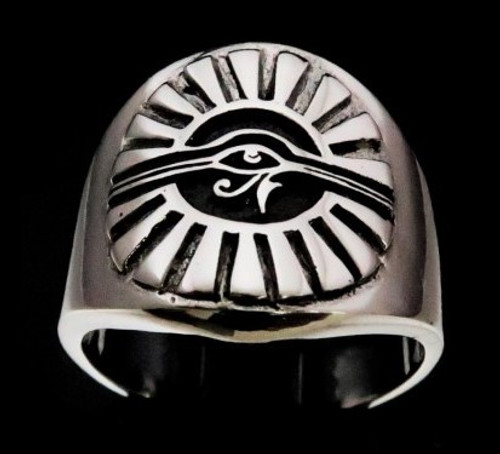 Sterling silver ancient symbol ring All Seeing Eye of Ra Udjat high polished and antiqued 925 silver