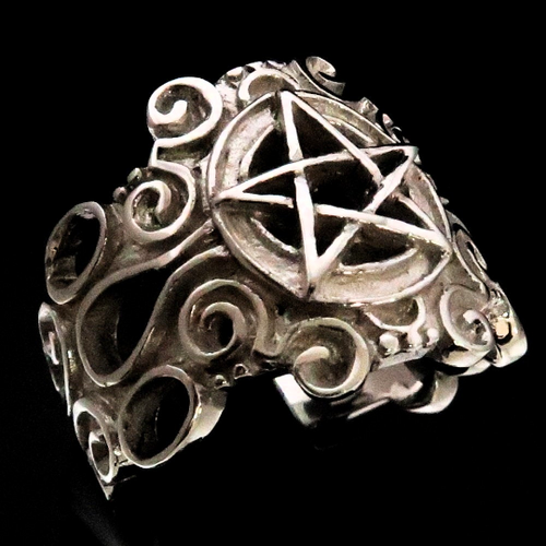 Occult Sterling silver Symbol ring Pentagram Retro style high polished 925 silver