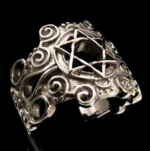 Stunning Sterling silver Hexagram symbol ring Hebrew Star of David Retro style high polished 925 silver