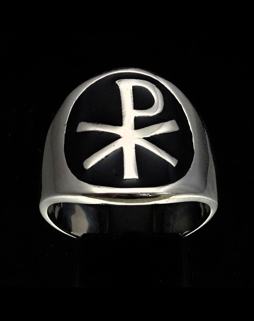 Sterling silver Symbol ring Chi Ro XP Christian Warrior Cross with Black enamel high polished 925 silver