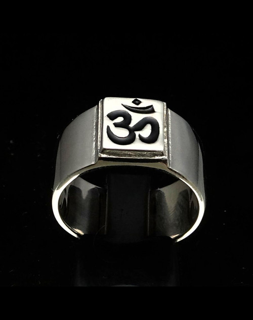 Sterling silver Buddhist ring Ohm symbol Buddhism in Black enamel on square high polished 925 silver