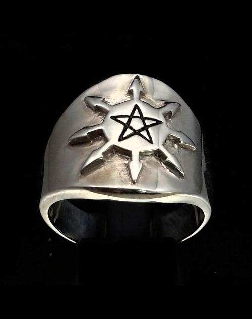 Sterling silver Occult symbol ring Pentagram Star in Black enamel on Wheel of Chaos Cross 925 silver