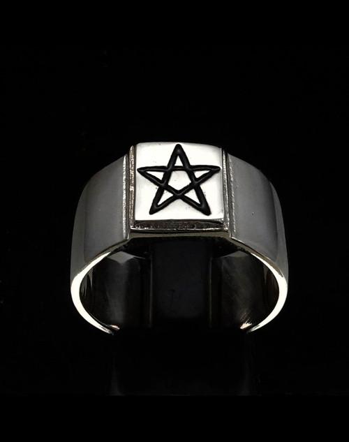 Sterling silver Occult symbol ring Pentagram Star in Black enamel on square high polished 925 silver