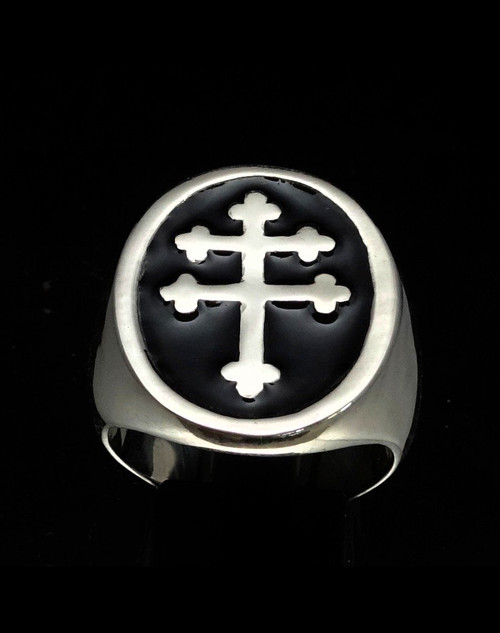 Sterling silver ring Lorraine Cross Anjou Heraldic symbol France with Black enamel high polished 925 silver