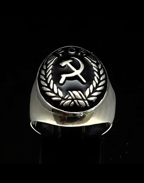 Sterling silver Symbol ring Hammer and Sickle PCR in Laurel wreath with Black enamel 925 silver