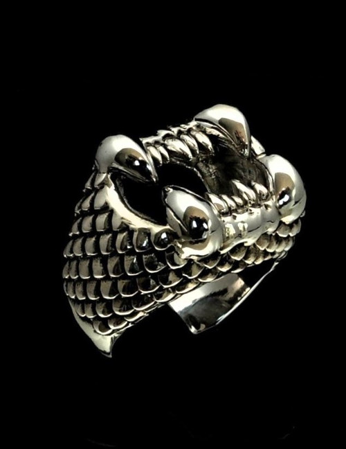 Sterling silver Fantasy ring Vicious Sand Worm mythical Animal high polished and antiqued 925 silver
