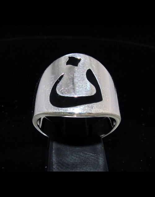 Sterling silver initial ring Arabic letter Nun Nuun Nonou Thaana symbol with Black enamel 925 silver