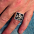 Silver medieval ring Maltese Cross and Skull with Black enamel high polished 925 Sterling silver men's ring