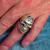 Sterling silver men's ring Eye of Ra ancient Egypt symbol in Black enamel 925 silver