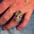 Sterling silver ring Celtic Water Triad symbol Triskele on Grinning Skull with Black enamel