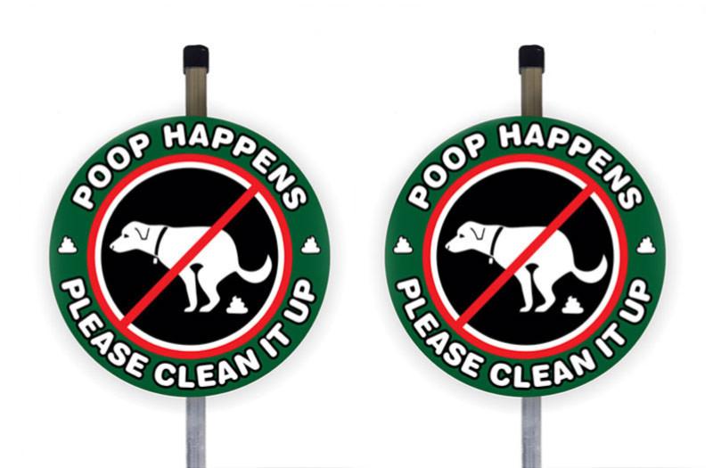 poop happens yard sign
