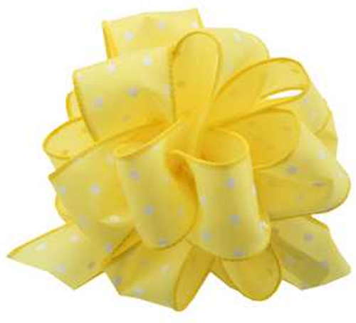 YELLOW-Dotted Wired Edge Ribbon