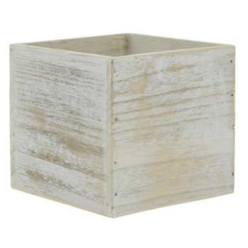 White Wash Planter with Liner