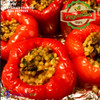 Vegetarian Lovers  Baked Bell pepper stuffed with organic pearl couscous, portabello mushrooms, carrots, onions, parsley.