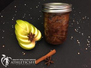 Organic green apple jam with anise star and cinnamon
