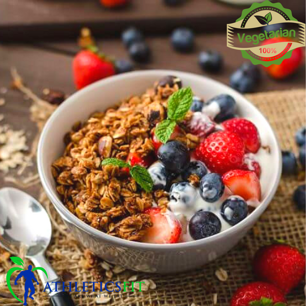 Low fat Greek yogurt with Wild Berries and Granola.