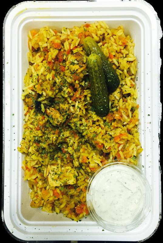 Mediterranean Chicken Rice Pilaf with Tzatziki Sauce