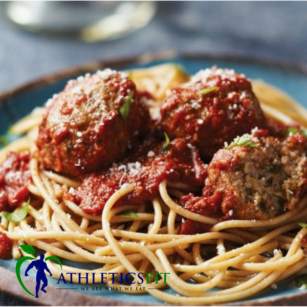 Tasty Lean Turkey meatballs with Whole grain spaghetti past and Low sodium tomato sauce