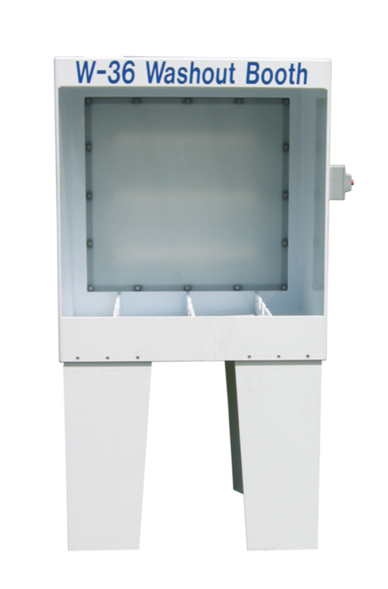 "EasiWay - W-36 EasiFlo Washout Booth - Backlit.  40""High x 36""Wide x 28""Deep (Outside Dimensions); Constructed of 1/2 white,welded,corrosion proof polypropylene.  110 Volts."