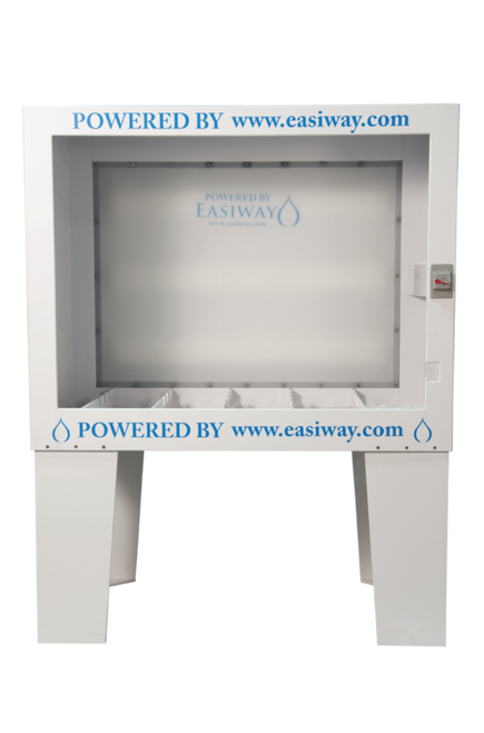 "EasiWay - W-60 EasiFlo Washout Booth- Backlit.  48""High x 60""Wide x 36""Deep (Outside Dimensions) Constructed of 1/2"" white, welded, corrosion proof polypropylene.  110 Volts."