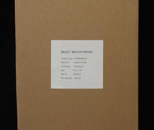 "Premium Waterproof Inkjet Film 8.5"" x 14"" 100 Sheets/Box"