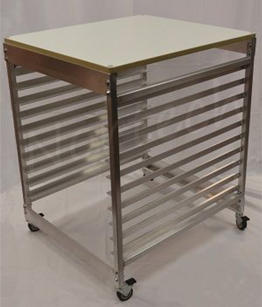 SCREEN RACK - HOLDS 10 SCREENS (20x24 and 23x31); WITH WORK TABLE TOP