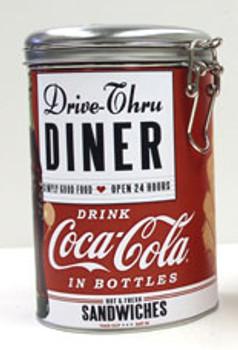 Coca-Cola Drive-Thru Diner Round Locktop Tin
