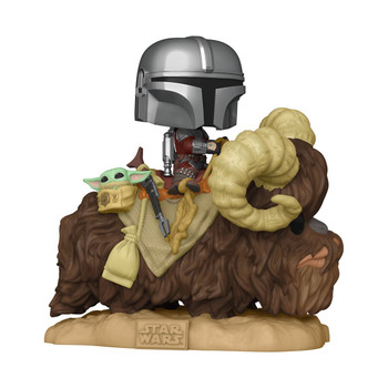 Funko Funko Star Wars The Mandalorian Mando on Bantha with Child in Bag Deluxe Pop! Vinyl Figure