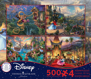 Tangled, Sleeping Beauty, Peter Pan, Mickey & Minnie in Hollywood 4-in-1 500 Piece Puzzles
