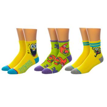 Spongebob Quarter 3 Pair Crew Socks