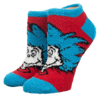 Dr. Seuss Cat In The Hat Fuzzy Chenille Ankle Socks