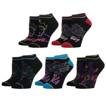 Disney Villains 5 Pair Black Ankle Socks
