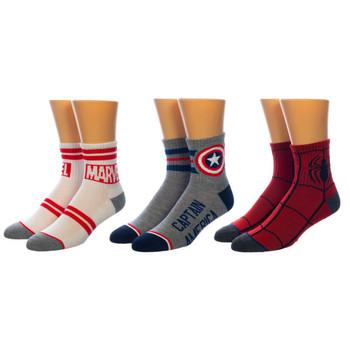 Marvel Quarter Crew 3 Pair Socks